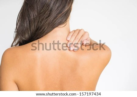 Woman Upper Back Neck Pain Standing Stock Photo Edit Now
