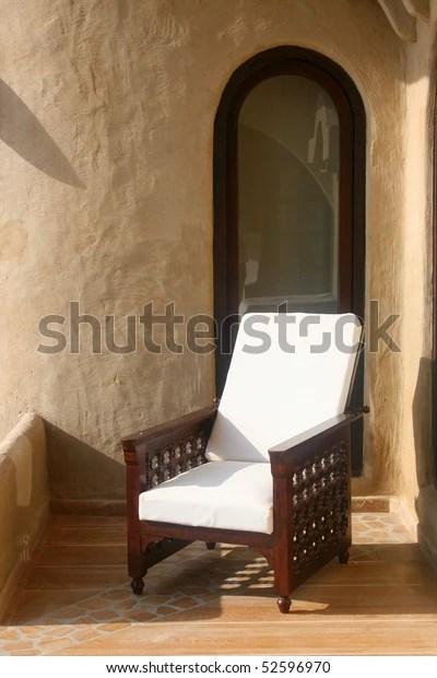 Wooden Armchair On Terrace Mihir Garh Stock Photo Edit Now