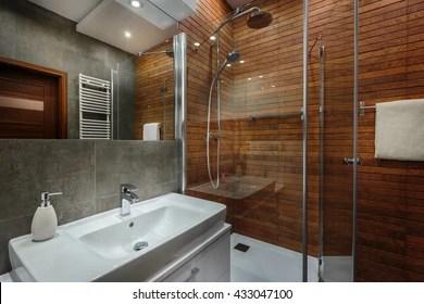 https www shutterstock com image photo wooden wall shower grey tiles new 433047100