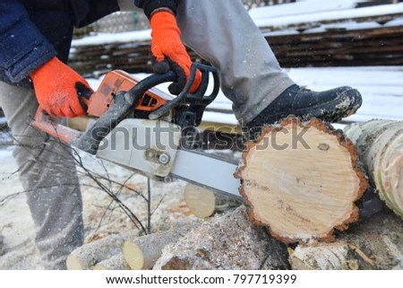 Sawing Logs Into Lumber By Hand