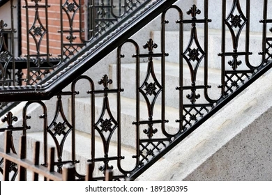 Cast Iron Stair Railings Images Stock Photos Vectors Shutterstock | Cast Iron Handrails For Stairs | Baluster Curved Stylish Overview Stair | 1920'S | Iron Railing | Exterior Stair | Georgian