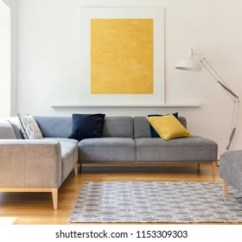 Corner Living Room Table How To Size An Area Rug For 1000 Sofa Pictures Royalty Free Images Stock Photos And Yellow Painting Lamp In Modern Interior With Grey Real Photo