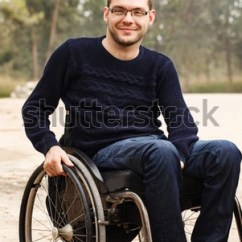 Wheelchair Man Vintage Leather Chairs Young Disabled Smile Outside Stock Photo Edit Now In