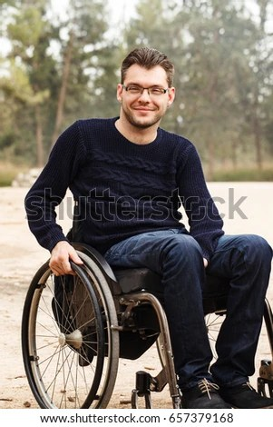 wheelchair man painted french chairs young disabled smile outside stock photo edit now in