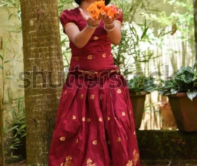 Young Indian Girl Wearing Traditional Dress For Onam Vishu Kerala India Asian Child