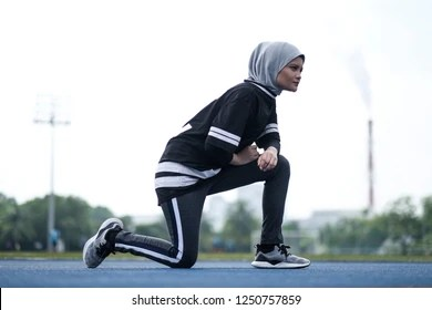 """""""where do you always go for yoga?"""" """"how was your piloxing class last night"""" """"i have a free pass for zumba later, do you want to join me?"""" Hijab Exercise High Res Stock Images Shutterstock"""