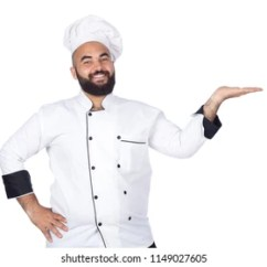 Kitchen Wear Designs Images Stock Photos Vectors Shutterstock Young Smiley Chef Standing Hand On Waist Wearing The Uniform Points With One Inviting Isolated