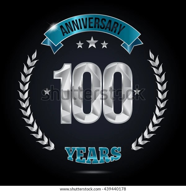 100 Years Silver Anniversary Logo Low Stock Vector (Royalty Free) 439440178