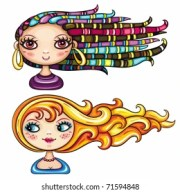 blonde cartoon girl haired