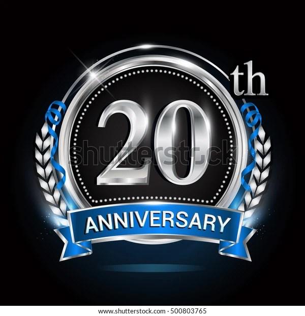 20th Silver Anniversary Logo Blue Ribbon Stock Vector (Royalty Free) 500803765