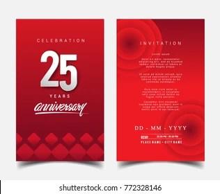 https www shutterstock com image vector 25 years anniversary invitationgreeting card flat 772328146