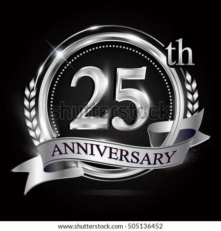 25th Silver Anniversary Logo Ring Ribbon Stock Vector (Royalty Free) 505136452 - Shutterstock
