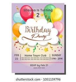 https www shutterstock com image vector 2nd birthday party invitation card balloon 1051159796