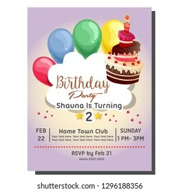 https www shutterstock com image vector 2nd birthday party invitation card balloon 1296188356