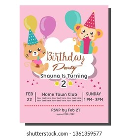 https www shutterstock com image vector 2nd birthday party invitation card template 1361359577
