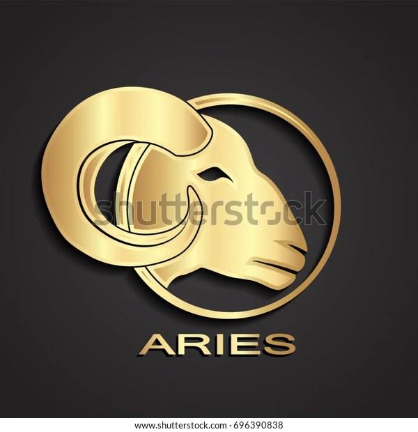 3d golden aries head