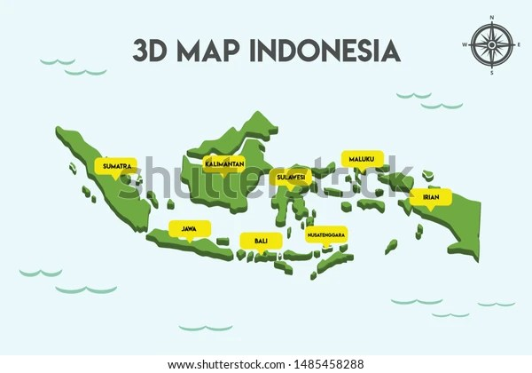 3d Map Indonesia Covering All Islands Stock Vector Royalty Free 1485458288