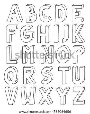 3 D Outline Alphabet Letter Z A 4 Stock Vector (Royalty