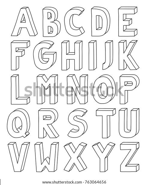 3d outline alphabet letter