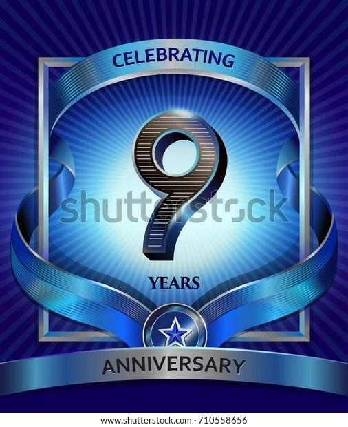 9 Year Anniversary Symbol : anniversary, symbol, Years, Anniversary, Design, Template, Invitation, Stock, Vector, (Royalty, Free), 710558656