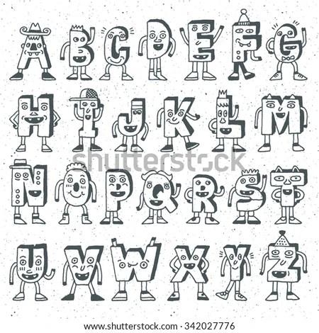 ABC Funny Alphabet Characters Wacky Doodle Stock Vector