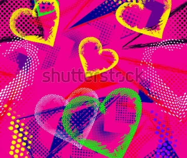 Abstract Seamless Pattern For Textile Fashion Style Wallpaper With Neon Lightning Star