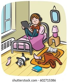 An Adolescent Girl Wearing Headphones Sits In Her Messy Room Watching Streaming On Tablet