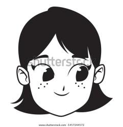 Adorable Cute Young Girl Face Black Stock Vector Royalty Free 1457244572