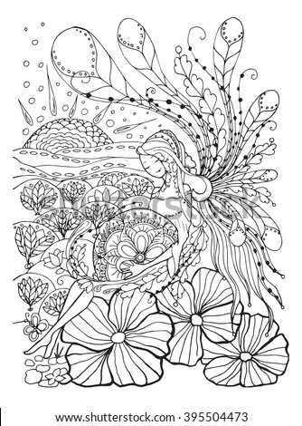 Adult Coloring Book Page Pregnant Lady Pregnancy Stock