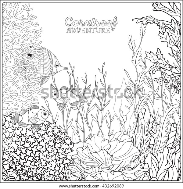 Adult Coloring Book Coloring Page Underwater Stock Vector