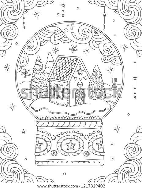 Adult Coloring Page Christmas Crystal Ball Stock Vector