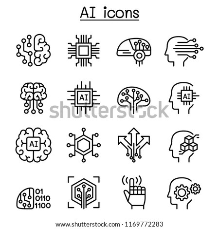 AI Artificial Intelligence Icon Set Thin Stock Vector