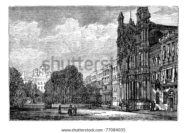Alameda Town Andalusia Spain Old Engraved Stock Vector