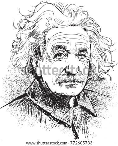 Albert Einstein Portrait Line Art Einstein Stock