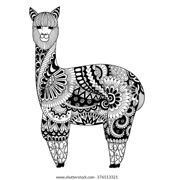 Alpaca Zentangle Design Coloring Book Adult Stock Vector