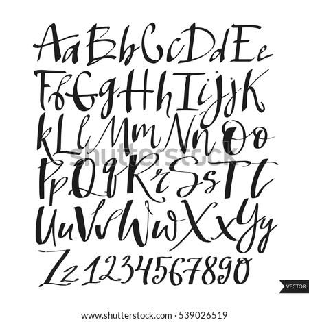 Alphabet Letters Black Handwritten Font Drawn Liquid Stock
