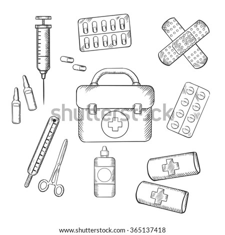 Ambulance Concept Sketch Icons First Aid Vector de stock