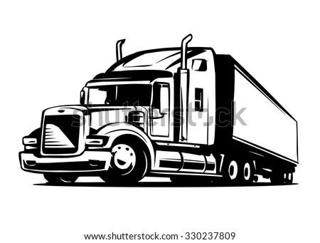 American Truck Trailer Black White Illustration Stock