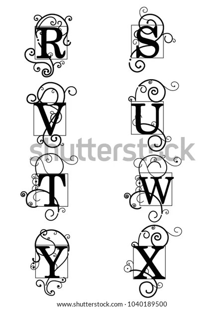 ancient letters alphabet ornament