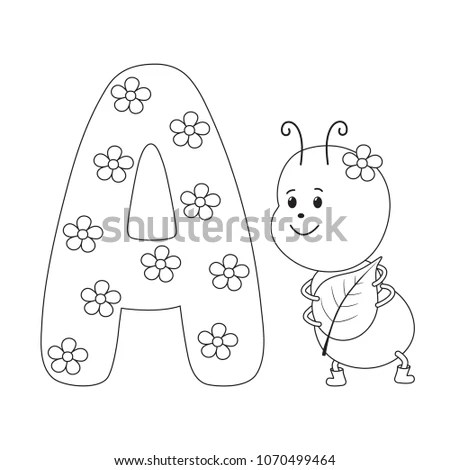 Ant Letter Kids Alphabet Hand Drawn Stock Vector (Royalty