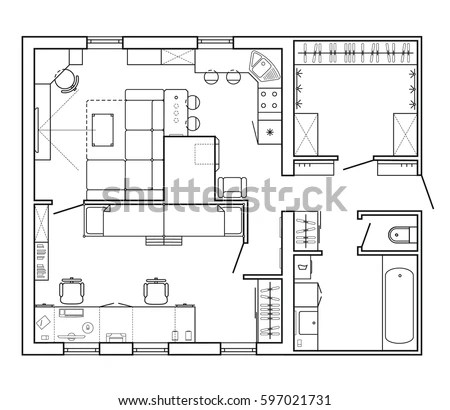 Architectural Plan House Layout Plan Apartment Stock