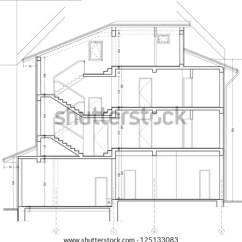 Architecture Section Diagram Western Snow Plow Wiring Ford Architectural Drawing Stock Vector Royalty Free 125133083