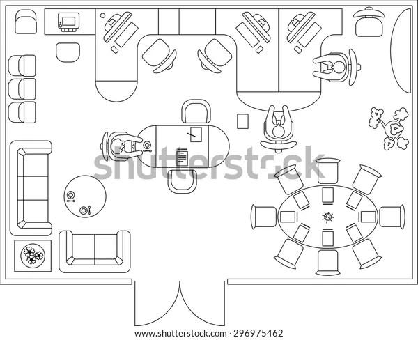 Architectural Set Furniture Interior Design Elements Stock