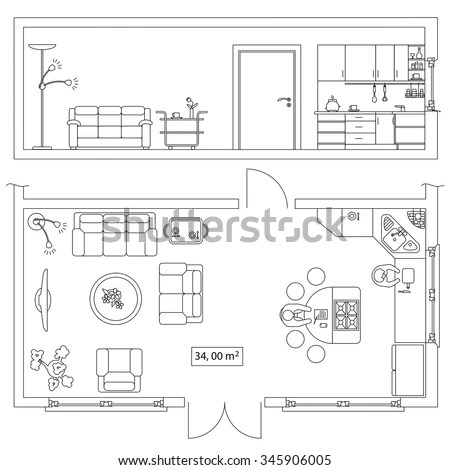 Architectural Set Furniture Objects Building Plan Stock