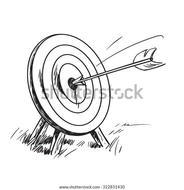 Arrow Hitting Center Target Successful Business Stock