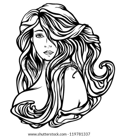 Art Nouveau Style Woman Gourgeous Hair Stock Vector