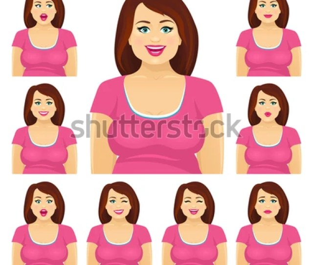 Attractive Plump Brunette Woman With Different Facial Expressions Set Vector Cartoon Character On White Background