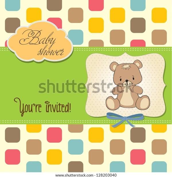 Baby Shower Card Teddy Bear Vector 스톡 벡터(로열티 프리) 128203040