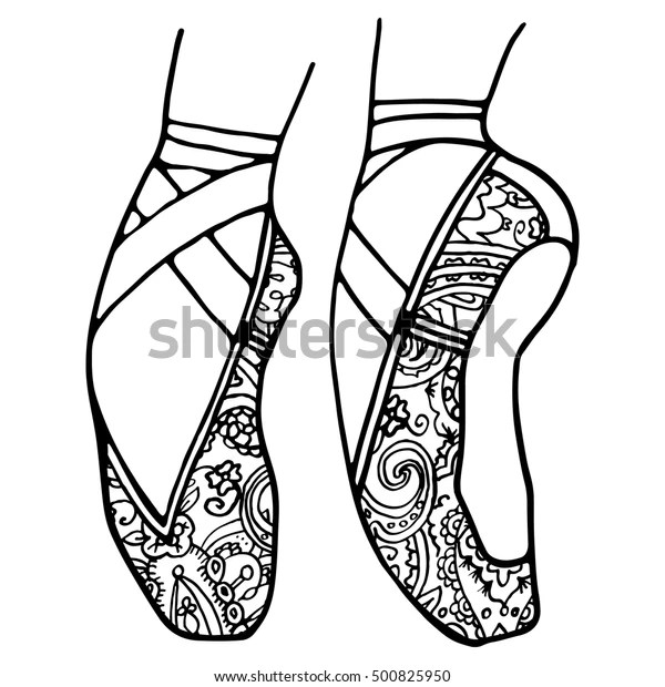 Ballet Shoes Pointe Adult Coloring Book Stock Vector