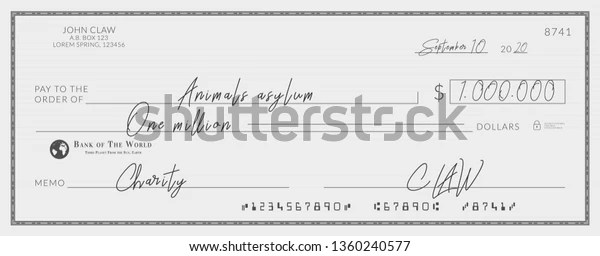 Bank Check Signed Charity One Million Stock Vector Royalty Free 1360240577